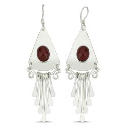 Brown Agate Handmade Earrings - Turkish Silver Jewelry - BOW-4066