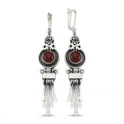 Brown Agate Handmade Earrings - Turkish Silver Jewelry - BOW-4072