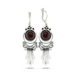 Brown Agate Handmade Earrings - Turkish Silver Jewelry - BOW-4081