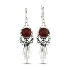 Brown Agate Handmade Earrings - Turkish Silver Jewelry - BOW-4095