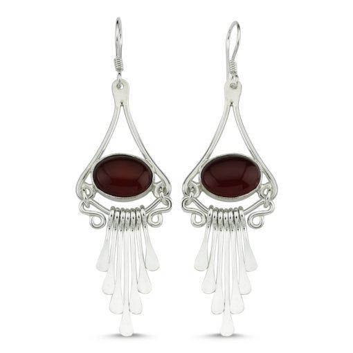 Brown Agate Handmade Earrings - Turkish Silver Jewelry - BOW-4101