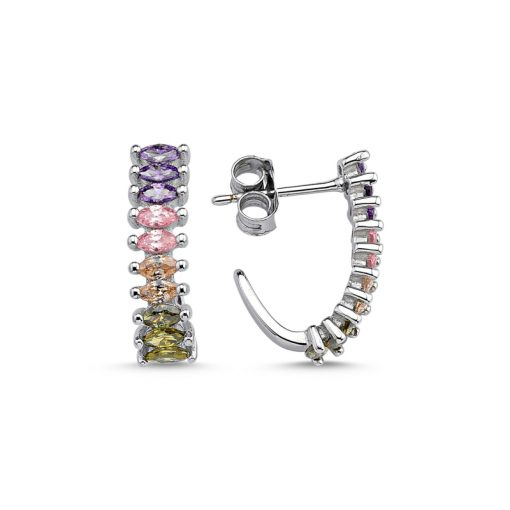 Colored Marquise Swarovski Earrings - Turkish Silver Jewelry - BOW-4677
