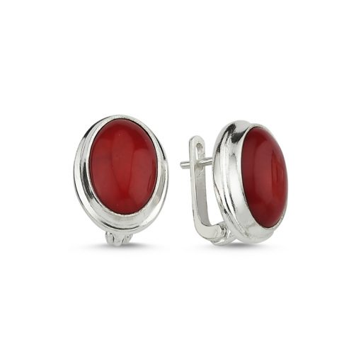 Coral Stone Handmade Earrings - Turkish Silver Jewelry - BOW-4035