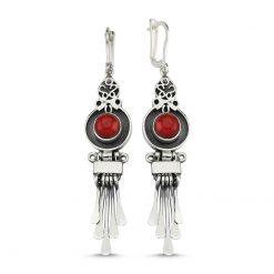 Coral Stone Handmade Earrings - Turkish Silver Jewelry - BOW-4073