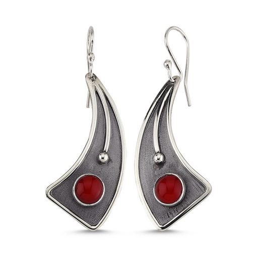 Coral Stone Handmade Earrings - Turkish Silver Jewelry - BOW-4119