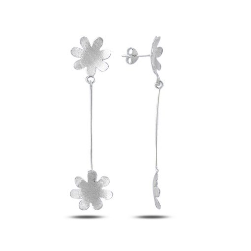 Dangle Brushed Daisy Earrings - Turkish Silver Jewelry - BOW-4321