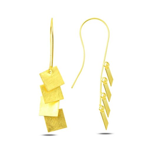 Dangle Brushed Square Earrings - Turkish Silver Jewelry - BOW-4297