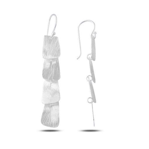 Dangle Brushed Tetragon Earrings - Turkish Silver Jewelry - BOW-4301