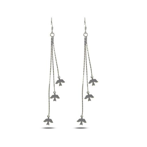 Dangle Matt Bird Earrings - Turkish Silver Jewelry - BOW-4307