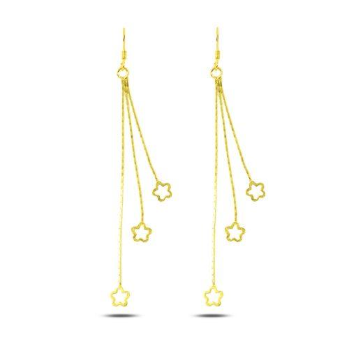 Dangle Matt Flower Earrings - Turkish Silver Jewelry - BOW-4309