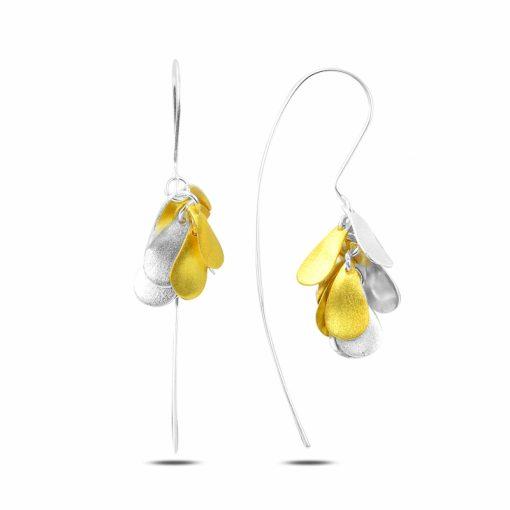 Dangle Matt Pear Earrings - Turkish Silver Jewelry - BOW-4291