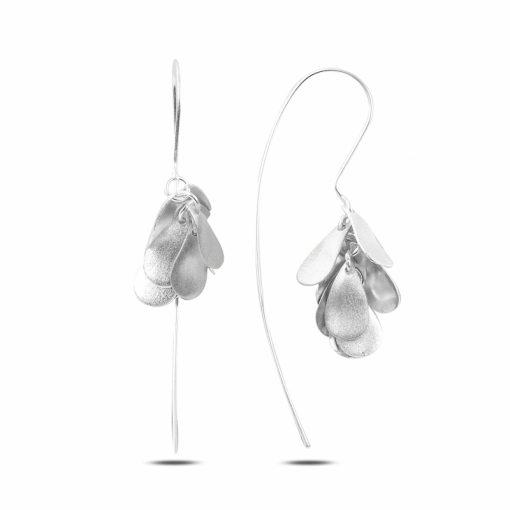 Dangle Matt Pear Earrings - Turkish Silver Jewelry - BOW-4292