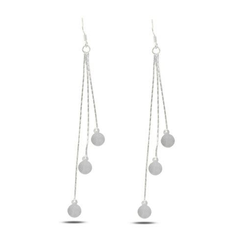Dangle Matt Sequin Earrings - Turkish Silver Jewelry - BOW-4312