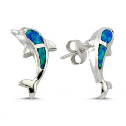 Dolphin Opal Earrings - Turkish Silver Jewelry - BOW-4207