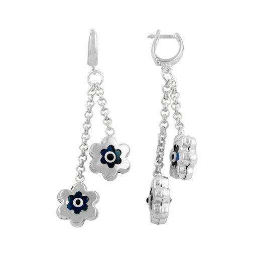 Evil Eye Daisy Earrings - Turkish Silver Jewelry - BOW-4585