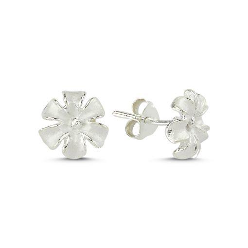Flower Earrings - Turkish Silver Jewelry - BOW-4253