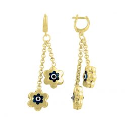 Gold Plated Evil Eye Daisy Earrings - Turkish Silver Jewelry - BOW-4377