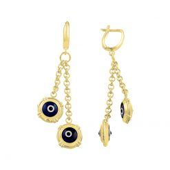 Gold Plated Evil Eye Earrings - Turkish Silver Jewelry - BOW-4379