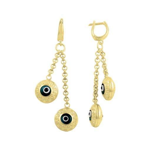 Gold Plated Evil Eye Earrings - Turkish Silver Jewelry - BOW-4381