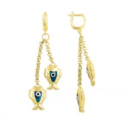 Gold Plated Evil Eye Fish Earrings - Turkish Silver Jewelry - BOW-4378