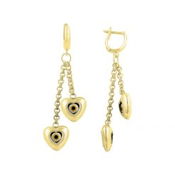 Gold Plated Evil Eye Heart Earrings - Turkish Silver Jewelry - BOW-4380