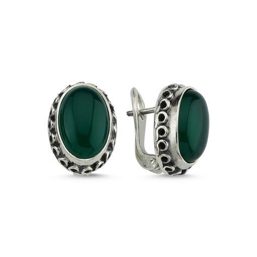 Green Agate Stone Handmade Earrings - Turkish Silver Jewelry - BOW-4031
