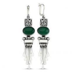 Green Agate Stone Handmade Earrings - Turkish Silver Jewelry - BOW-4052