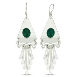 Green Agate Stone Handmade Earrings - Turkish Silver Jewelry - BOW-4061