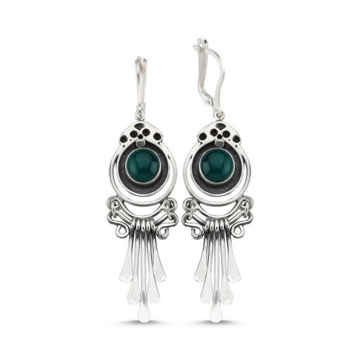 Green Agate Stone Handmade Earrings - Turkish Silver Jewelry - BOW-4075