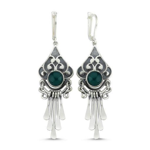Green Agate Stone Handmade Earrings - Turkish Silver Jewelry - BOW-4087