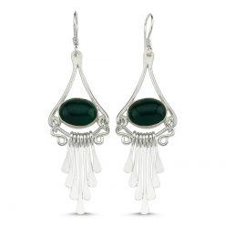 Green Agate Stone Handmade Earrings - Turkish Silver Jewelry - BOW-4103