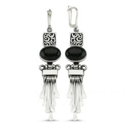 Green Goldstone Handmade Earrings - Turkish Silver Jewelry - BOW-4060
