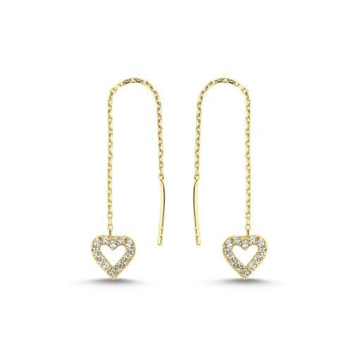 Heart Threader Earrings - Turkish Silver Jewelry - BOW-4605