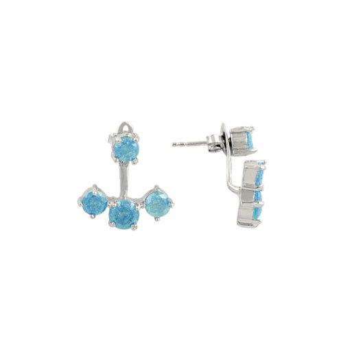 Ice Swarovski Double Earrings - Turkish Silver Jewelry - BOW-4382