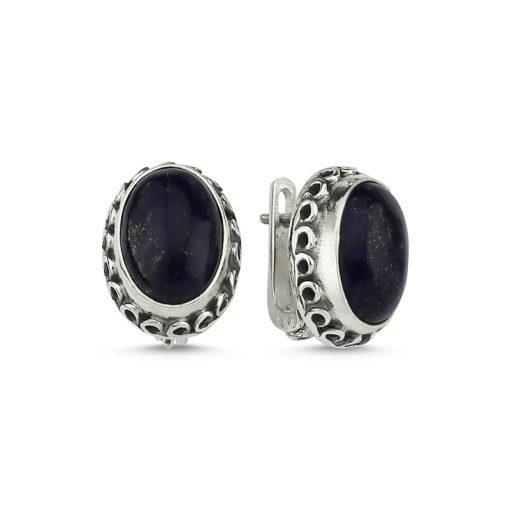 Lapis Lazuli Stone Handmade Earrings - Turkish Silver Jewelry - BOW-4030