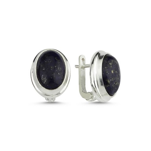 Lapis Lazuli Stone Handmade Earrings - Turkish Silver Jewelry - BOW-4038
