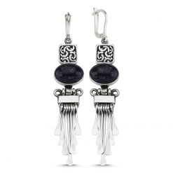 Lapis Lazuli Stone Handmade Earrings - Turkish Silver Jewelry - BOW-4058