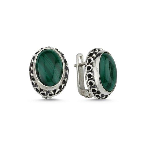 Malachite Stone Handmade Earrings - Turkish Silver Jewelry - BOW-4032