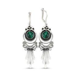 Malachite Stone Handmade Earrings - Turkish Silver Jewelry - BOW-4076
