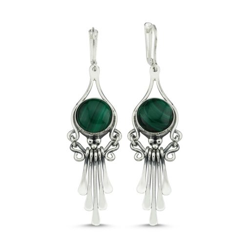 Malachite Stone Handmade Earrings - Turkish Silver Jewelry - BOW-4091