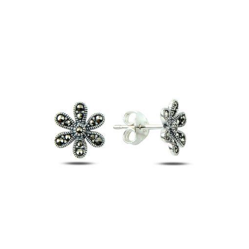 Marcasite Daisy Earrings - Turkish Silver Jewelry - BOW-4196