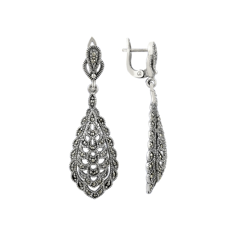 Marcasite Earrings Turkish Silver Jewelry Bow 4143