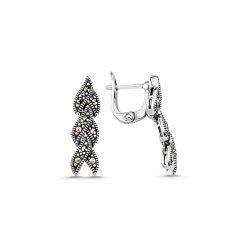 Marcasite Earrings - Turkish Silver Jewelry - BOW-4144