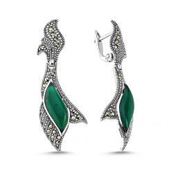 Marcasite & Gemstone Earrings - Turkish Silver Jewelry - BOW-4150