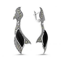 Marcasite & Gemstone Earrings - Turkish Silver Jewelry - BOW-4151