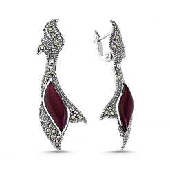 Marcasite & Gemstone Earrings - Turkish Silver Jewelry - BOW-4152