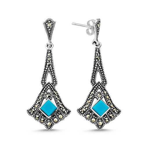 Marcasite & Gemstone Earrings - Turkish Silver Jewelry - BOW-4156