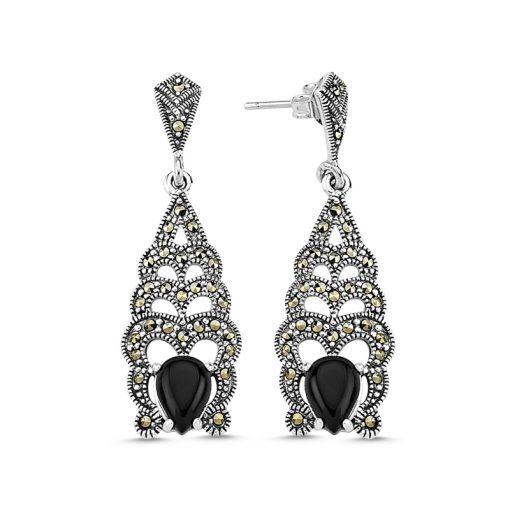 Marcasite & Gemstone Earrings - Turkish Silver Jewelry - BOW-4160