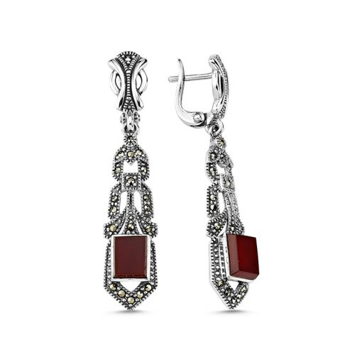 Marcasite & Gemstone Earrings - Turkish Silver Jewelry - BOW-4163
