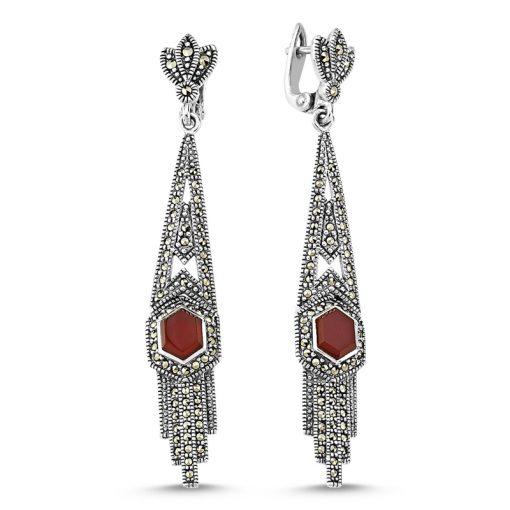 Marcasite & Gemstone Earrings - Turkish Silver Jewelry - BOW-4164